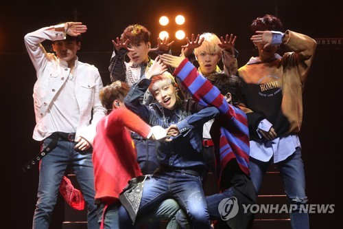 Rookie K-pop boy band RAINZ performs on stage during a media showcase at Yes24 Live Hall in eastern Seoul on Oct. 12, 2017. (Yonhap)