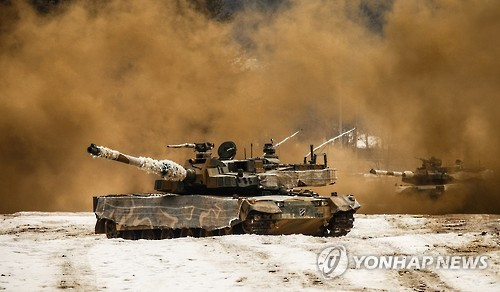 The K-2 main battle tank produced by South Korea is shown in this photo provided by the Army. (Yonhap)