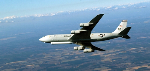 A Joint Surveillance Target Attack Radar System (JSTARS) plane files in the sky in this file photo posted on the U.S. Air Force's website. (Yonhap)