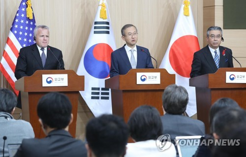 (4th LD) S. Korea, U.S., Japan agree to seek all possible diplomatic options on N.K.