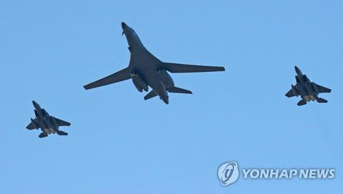 A U.S. B-1B strategic bomber flies over South Korea during the Seoul air show on Oct. 21. (Yonhap)