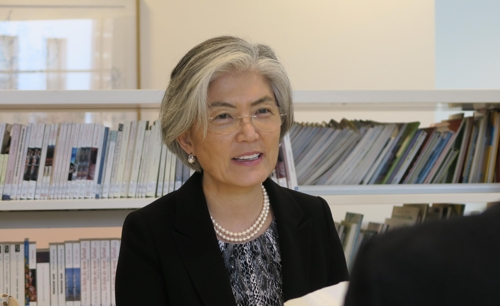 This photo taken Oct. 21, 2017, shows Foreign Minister Kang Kyung-wha during an interview with Yonhap News Agency in Brussels. (Yonhap)