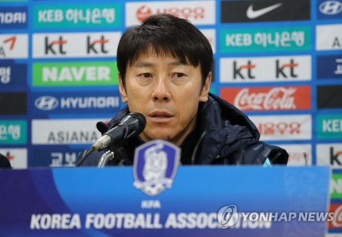 South Korea national football team head coach Shin Tae-yong speaks at a press conference at Suwon World Cup Stadium in Suwon, south of Seoul, on Nov. 9, 2017, one day ahead of the friendly match between South Korea and Colombia. (Yonhap)
