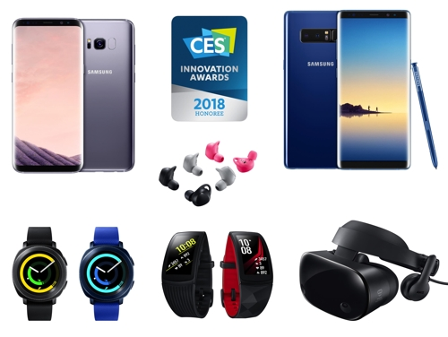 "Shown in the composite image are Samsung Electronics Co.'s products which won the ""Innovation Honoree"" title from the Consumer Electronics Show 2018 Innovation Awards. The image was provided by the company on Nov. 10, 2017. (Yonhap)"