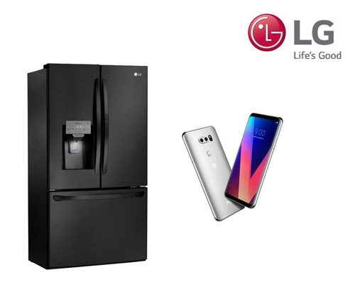 "The LG Smart ""Magic Space"" refrigerator (L) and the LG V30 smartphone. (Yonhap)"