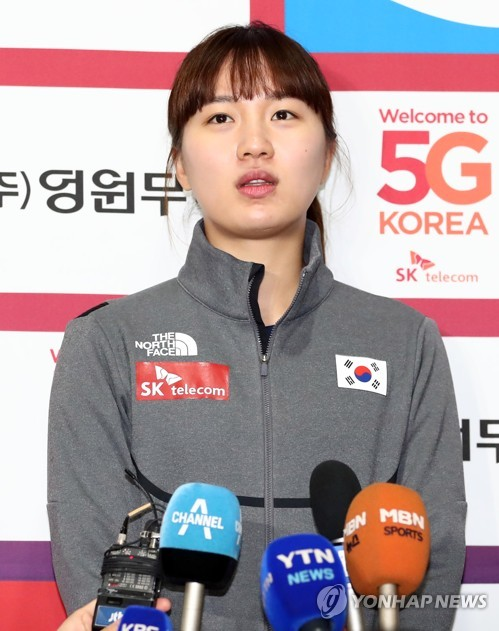 In this file photo taken Oct. 24, 2017, South Korean speed skater Park Seung-hi speaks to reporters at Taeneung International Rink inside the National Training Center in Seoul. (Yonhap)