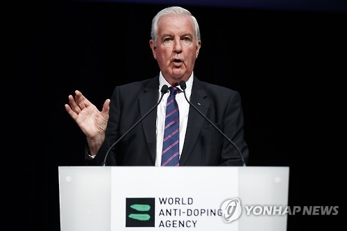 In this photo by taken by EPA, World Anti-Doping Agency (WADA) President Craig Reedie speaks during the 2017 WADA annual symposium in Lausanne, Switzerland, on March 13, 2017. (Yonhap)