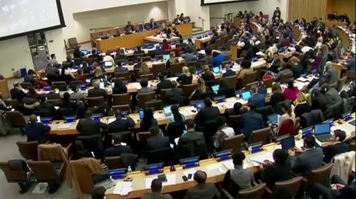 This photo, captured from official U.N. footage, shows a meeting of the Third Committee in New York on Nov. 14, 2017. (Yonhap)