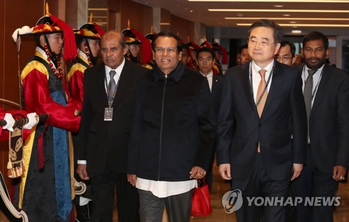 President Maithripala Sirisena arrives in Korea