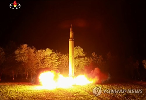 This photo, released by North Korea's media on July 29, 2017, shows the country's firing of an intercontinental ballistic missile (ICBM). (For Use Only in the Republic of Korea. No Redistribution) (Yonhap)