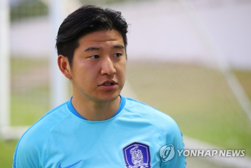 In this file photo taken June 5, 2017, South Korea national football team left back Park Joo-ho speaks to reporters before training in the United Arab Emirates. (Yonhap)