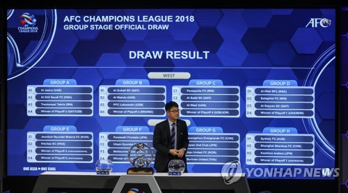 In this photo taken by the EPA, Asian Football Confederation (AFC) Competition Director Shin Man-gil stands in front of the final results of the 2018 AFC Champions League group stage draw at AFC House in Kuala Lumpur on Dec. 6, 2017. (Yonhap)