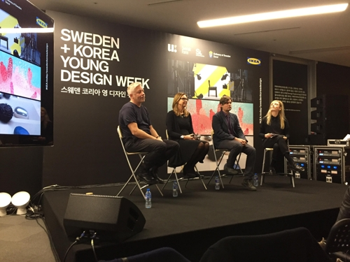 Marcus Engman (1st from L), global head of design at IKEA, and Swedish Ambassador to South Korea Anne Hoglund (2nd from L) take questions from reporters at a press conference in Seoul. (Yonhap)