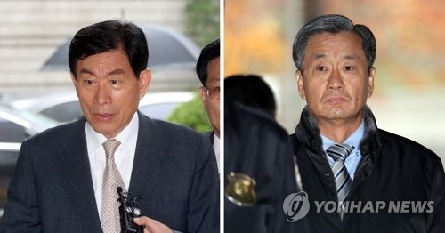 This photo filed Dec. 5, 2017, shows former spy chief Won Sei-hoon (L) and Lee Chong-myeong, one of his deputy directors at the National Intelligence Service (NIS). (Yonhap)