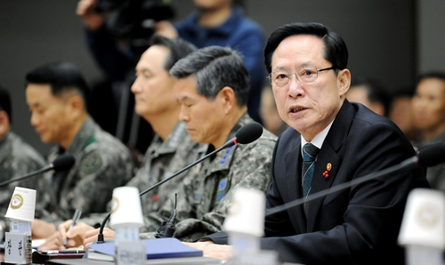 South Korean Defense Minister Song Young-moo holds a meeting with top military commanders at the defense ministry building in Seoul on Dec. 8 2017 in this