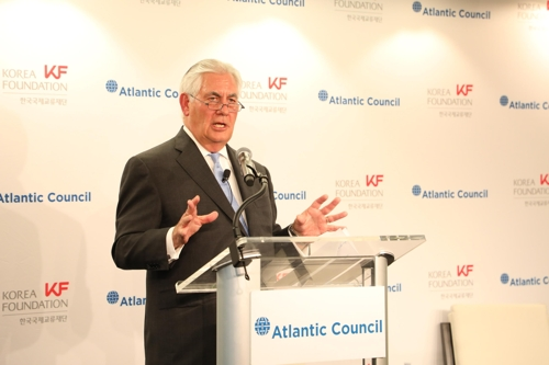 Korea Foundation U.S. Secretary of State Rex Tillerson delivers a speech at a forum co-hosted by the foundation and the Atlantic Council in Washington on Dec. 12 2017