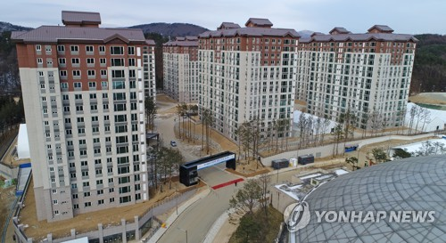 This aerial photo taken Dec. 15, 2017, shows the apartment buildings inside the PyeongChang Olympic Village in PyeongChang, Gangwon Province, the athletes' living quarters during the 2018 PyeongChang Winter Olympics. PyeongChang organizers announced the completion of the village earlier in the day. (Yonhap)
