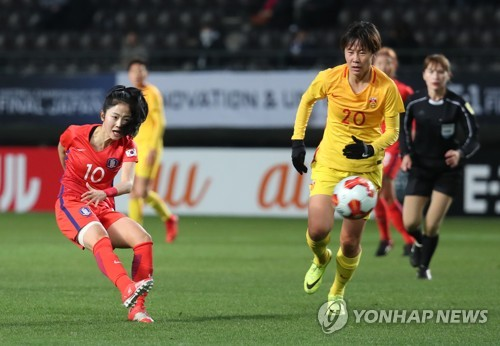 South Korea's Lee Min-a takes a shot during a match between South Korea and China at the East Asian Football Federation E-1 Football Championship at Soga Sports Park in Chiba Japan on Dec. 15 2017