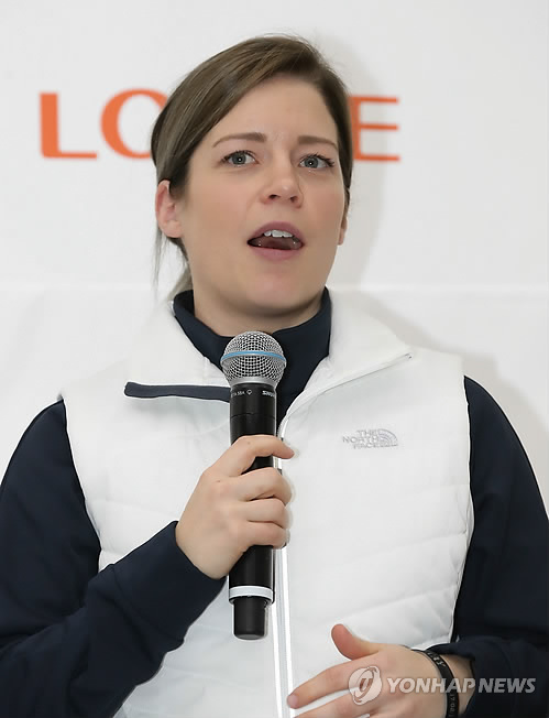 In this file photo taken on Oct. 31, 2017, South Korea women's hockey team head coach Sarah Murray speaks at the National Training Center in Seoul, during the media day event marking the 100-day countdown to the 2018 PyeongChang Winter Olympics. (Yonhap)