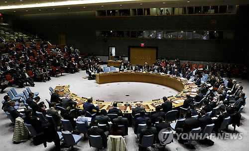 The U.N. Security Council discusses human rights situations in North Korea at the U.N. headquarters in New York on Dec. 11, 2017, in this photo provided by EPA. (Yonhap)