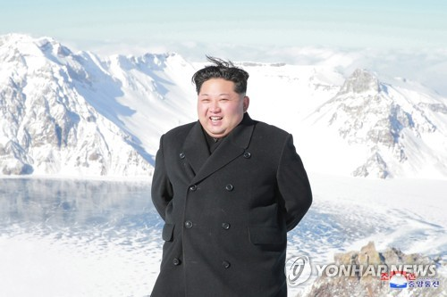 This photo, unveiled by North Korea's state-run news agency on Dec. 9, 2017, shows North Korean leader Kim Jong-un at Mount Paektu, the highest peak on the Korean Peninsula. (For Use Only in the Republic of Korea. No Redistribution) (Yonhap)