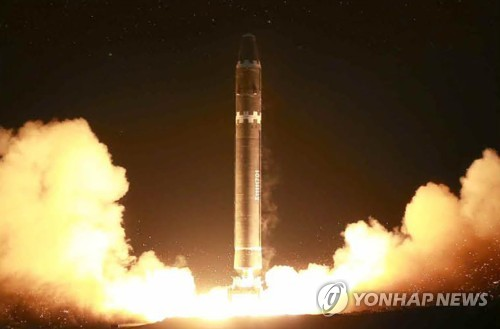 This photo, carried by North Korea's main newspaper Rodong Sinmun, on Nov. 30, 2017, shows the launch of a Hwasong-15 intercontinental ballistic missile a day earlier. (For Use Only in the Republic of Korea. No Redistribution) (Yonhap)