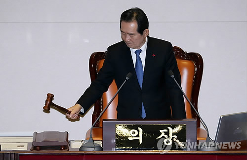 National Assembly Speaker Chung Sye-kyun presides over a plenary session on Dec. 29, 2017. (Yonhap)