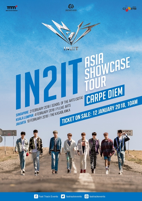 Promotional image for K-pop act IN2IT's upcoming three-nation Asia tour, provided by Stone Music Entertainment. (Yonhap)