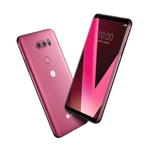 """The """"raspberry red"""" edition of the V30 smartphone, shown in a picture released by LG Electronics Inc. on Jan. 3, 2018 (Yonhap)"""