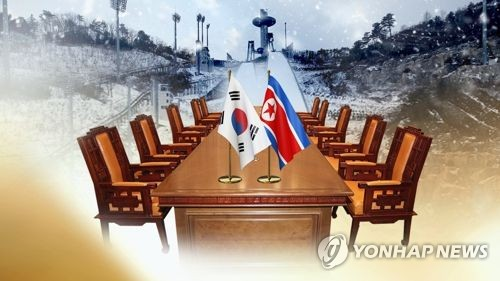 This image, provided by Yonhap News TV, shows the national flags of South and North Korea. (Yonhap)