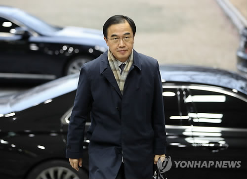 Unification Minister Cho Myoung-gyon South Korea's chief delegate to the first high-level inter Korean talks in more than two years reports to work at his office in downtown Seoul on Jan. 8 2018 the eve of the planned meeting at the border villag