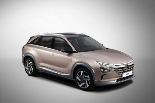 Co. shows the Hyundai NEXO a next-generation fuel cell model unveiled at CES 2018