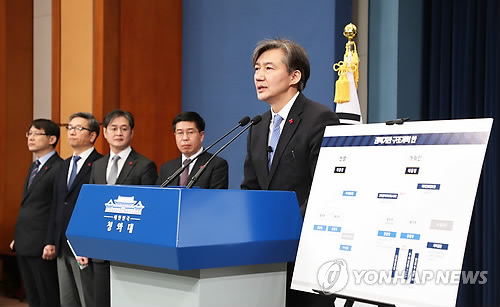 Cho Kuk (R), senior secretary to President Moon Jae-in for civil affairs, speaks in a press conference held at the presidential office Cheong Wa Dae on Jan. 14, 2018, introducing the government plan to reform the prosecution, police and the national spy agency. (Yonhap)