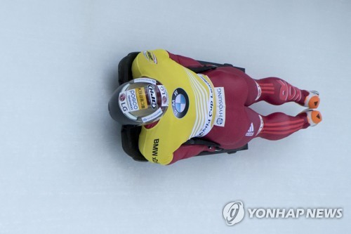 In this photo, taken by the EPA on Jan. 12, 2018, Yun Sung-bin competes in the men's skeleton at the IBSF World Cup in St. Moritz, Switzerland. (Yonhap)