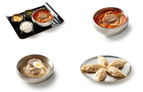 """This image, provided by Pyunghwaok, shows dishes sold at the restaurant at Incheon International Airport, west of Seoul. From top left clockwise are spicy beef soup """"gomtang"""" set, """"gomtang,"""" dumplings and Pyongyang-style cold noodles called """"naengmyun."""" (Yonhap)"""