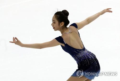 South Korean figure skater Choi Da-bin performs her free skate during the Korea Figure Skating Championships at Mokdong Ice Rink in Seoul on Jan. 7, 2018. (Yonhap)