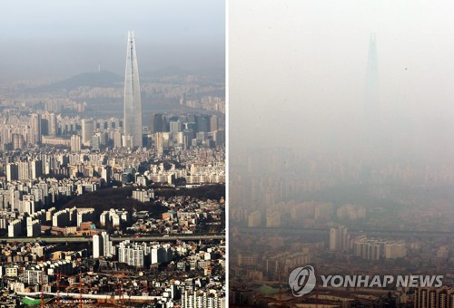 "This composite photo filed Jan. 19, 2018, shows the view of southeast Seoul, including Lotte World Tower, when the fine dust level was graded at ""normal"" on the left and ""bad"" on the right. (Yonhap)"