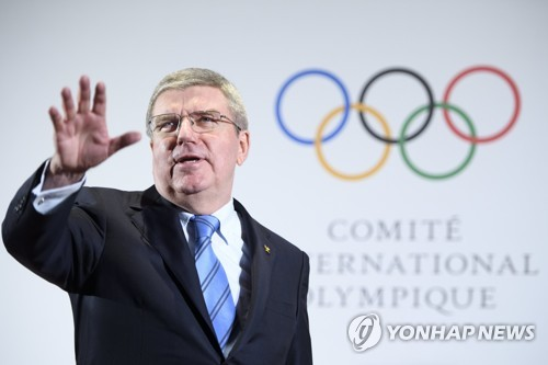 In this EPA photo taken Jan. 20, 2018, Thomas Bach, president of the International Olympic Committee, speaks before the North and South Korean Olympic Participation Meeting at the IOC headquarters in Lausanne, Switzerland. (Yonhap)