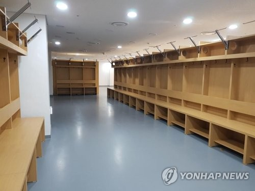 The picture taken Jan. 22, 2018, shows 35 new lockers installed at Jincheon National Training Center in Jincheon, North Chungcheong Province, where the joint Korean women's hockey team of 35 players is expected to train for the 2018 PyeongChang Winter Olympics. (Yonhap)