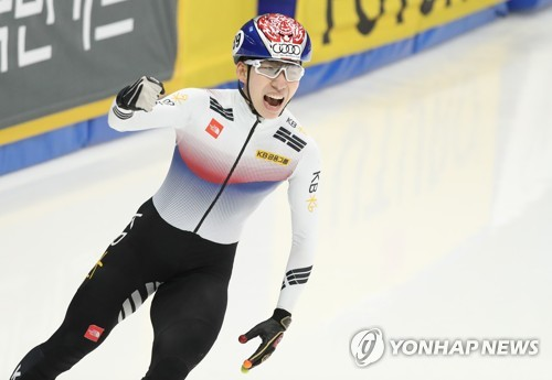 South Korean short track speed skater Lim Hyo-jun takes part in the International Skating Union World Cup Short Track Speed Skating at Mokdong Ice Rink in Seoul, in this file photo taken on Nov. 19, 2017.