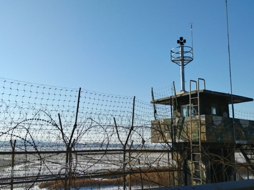 This photo taken on Jan. 26, 2018, shows a military post on the way to Tongilchon, Paju, Gyeonggi Province. (Yonhap)