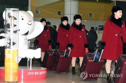 North Korea taekwondo demonstration team and cheerleaders arrive for Pyeongchang 2018