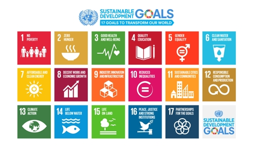 An image of the 17 Sustainable Development Goals (SDGs) set by the U.N., in this photo posted on the UNESCO's website (Yonhap)
