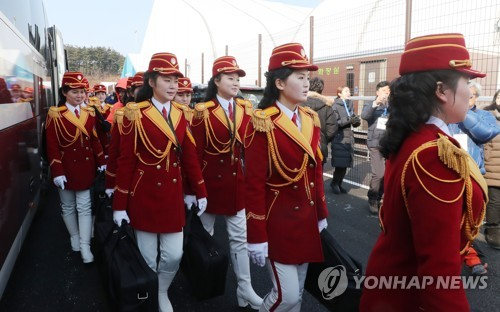An all-female North Korean marching band arrives at PyeongChang Olympic Village in Gangneung, Gangwon Province, on Feb. 8, 2018. (Yonhap)