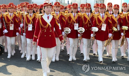 An all-female North Korean marching band is seen at a welcome event held for the North's Olympic squad at the Gangneung Olympic Village in Gangneung, a venue for the PyeongChang Winter Olympics, on Feb. 8, 2018. (Yonhap)
