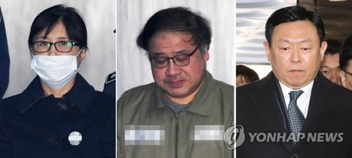 Choi Soon-sil (L), Park Geun-hye's longtime friend and confidante; An Chong-bum (C), Park's former senior aide; and Lotte Group chairman Shin Dong-bin are shown in this composite photo on Feb. 13, 2018 as they enter the Seoul Central District Court to attend their sentencing over the corruption that led to Park's ousting. (Yonhap)