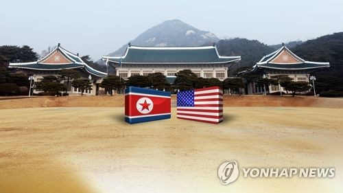 This image shows the U.S. and North Korean flags against the backdrop of South Korea's presidential office Cheong Wa Dae