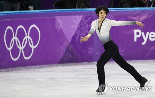 South Korean Cha Jun-hwan skates his free program in the men's singles figure skating event of the PyeongChang Winter Olympics at Gangneung Ice Arena on Feb. 17, 2018. (Yonhap)