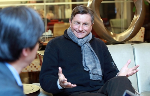Slovenian President Borut Pahor speaks during an interview in Seoul on Feb. 20, 2018 right after finishing his tour of the Demilitarized Zone that separates the two Koreas. (Yonhap)