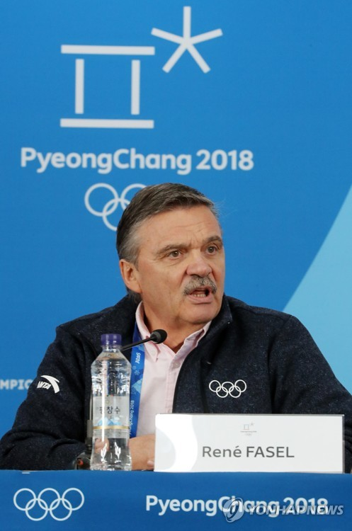 Rene Fasel, president of the International Ice Hockey Federation, attends a press conference for the women's tournament during the PyeongChang Winter Olympics at Gangneung Hockey Centre in Gangneung on Feb. 19, 2018. (Yonhap)